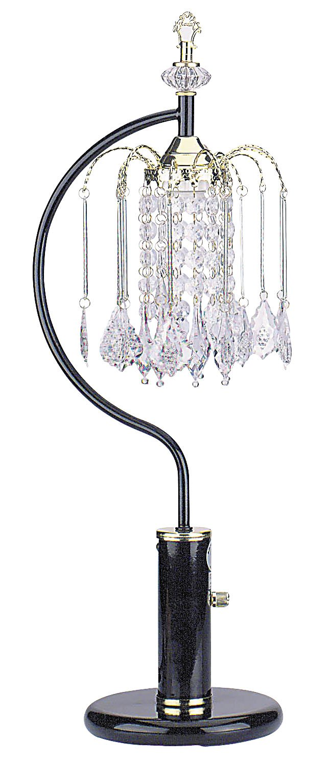 Black ORE International 715BK Table Lamp with Crystal-Like Shades