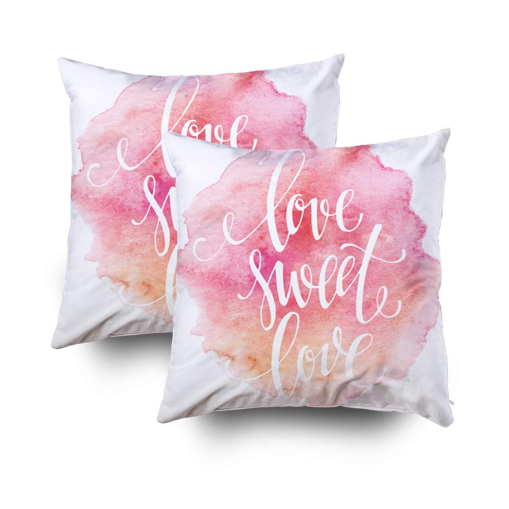 ROOLAYS Decorative Throw Square Pillow Case Cover 18X18Inch,Cotton Cushion Covers Poster Watercolor Lettering Love Sweet Both Sides Printing Invisible Zipper Home Sofa Decor Sets 2 PCS Pillowcase