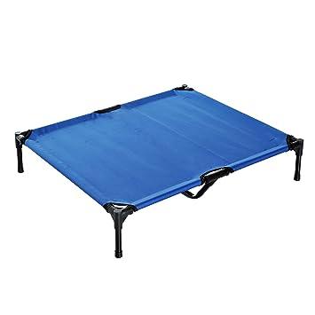 PawHut Cama elevada para mascota portátil cama de perro elevada para acampar con metal, color azul: Amazon.es: Productos para mascotas