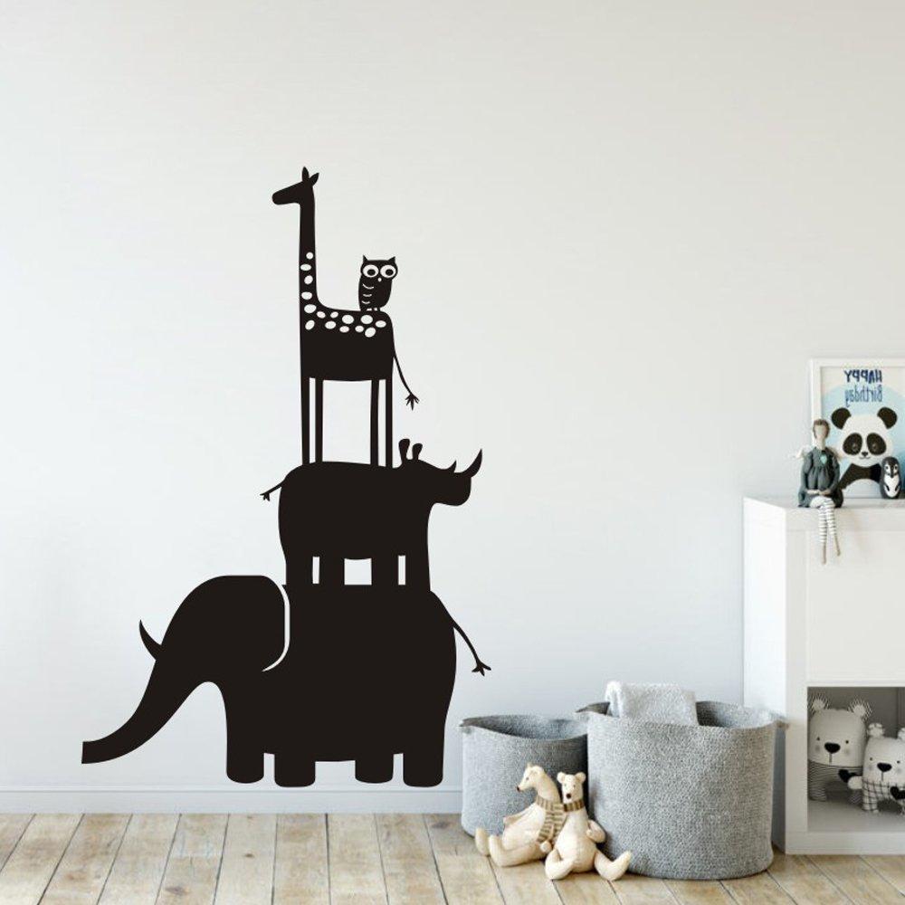 MoharWall Elephant Owl Giraffe Rhinoceros Stack Nursery Wall Decals Animal Vinyl Wall Art Baby Room Sticker Decor