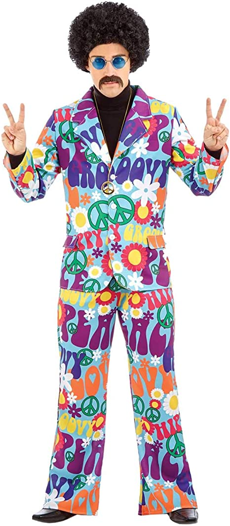 Adult Mens 60s 70s Orion The Hippie Hippy Man Groovy Fancy Dress Costume Outfit