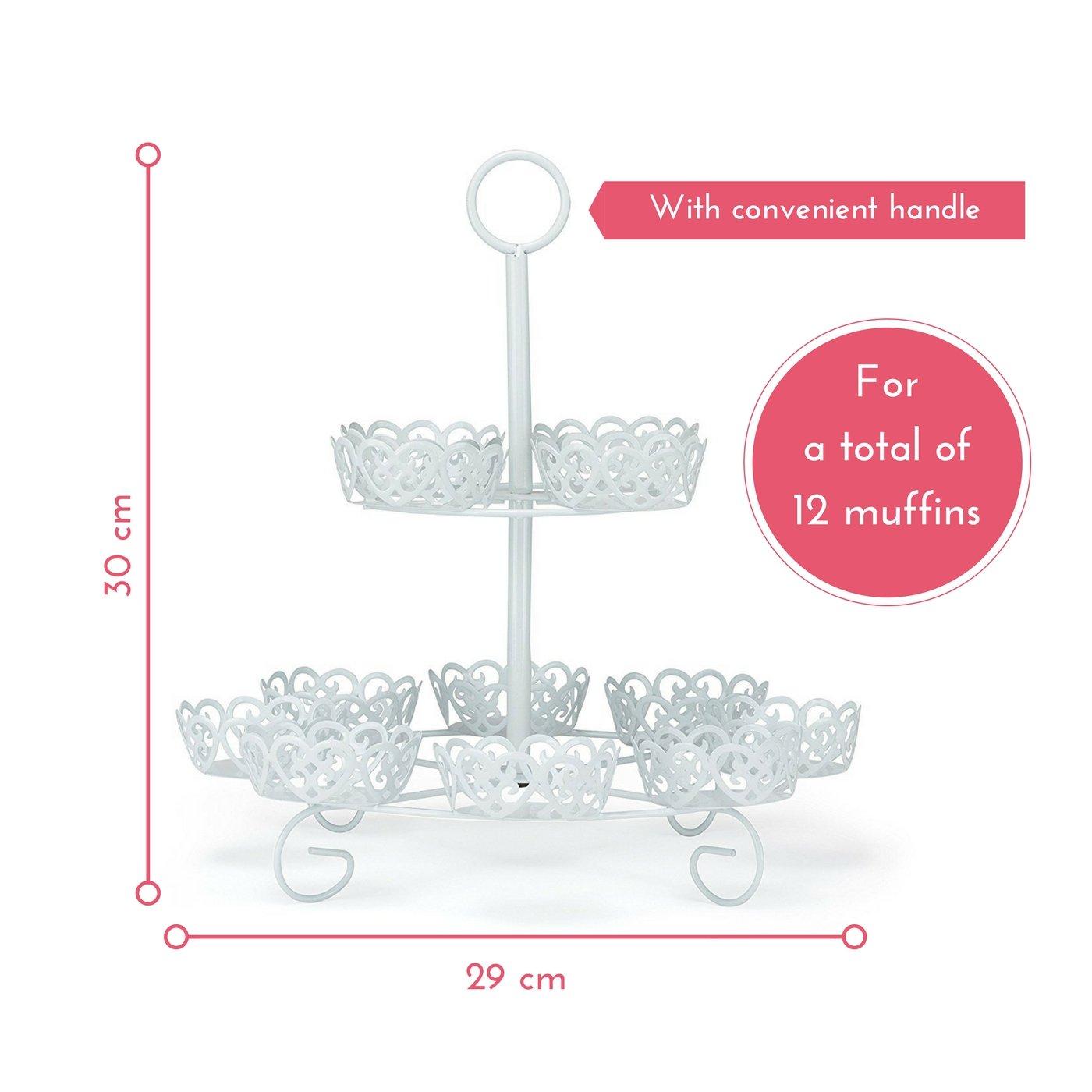 Melidoo Stand Base para 12 cupcake muffin postres 2-niveles | Soporte en Metal Blanco, Vintage | Ideal para fiestas de cumpleaños de niños, bodas, bautizos, ...