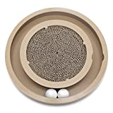 Natural Wood Scratch and Spin Cat and Kitten Tunnel and Track Toy - With 2 Balls and a Bag of Catnip, Best Pet Supplies