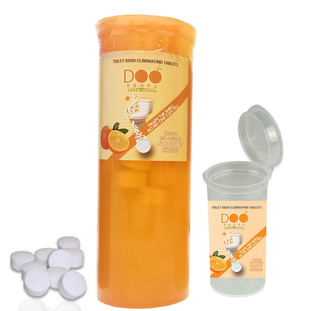 Doo Drops NEW! Toilet Odor Eliminating Tablets You Drop In Before You Go- 62 Citrus Scented Drop & Go, No Waiting/Home & Travel