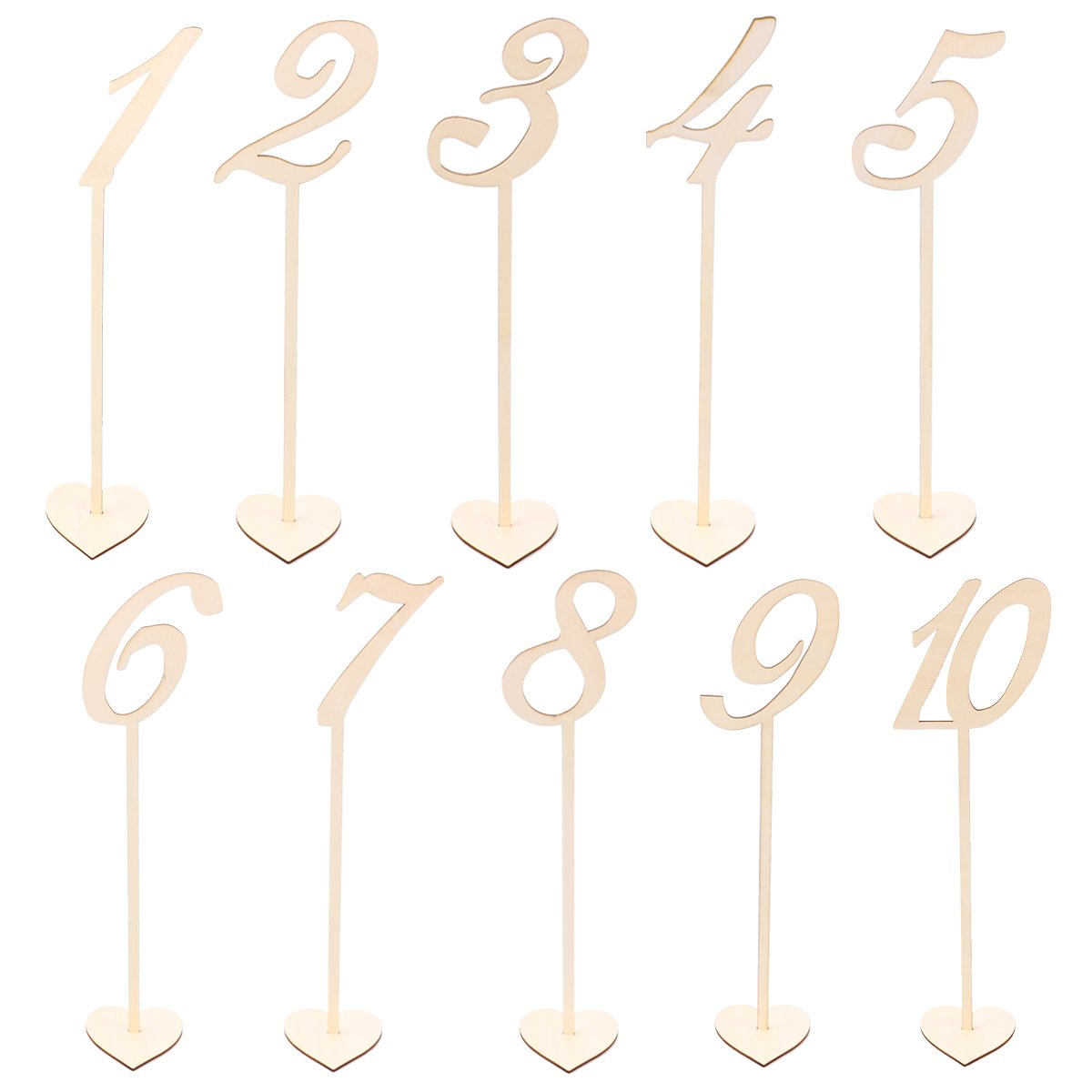 BESTOYARD 10pcs 1-10 Wooden Table Numbers with Holder Base for Rustic Wedding Birthday Party Seat Decoration