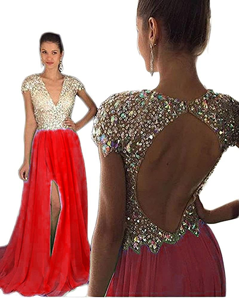 042d8c9a19 Amazon.com  Still Waiting Women s V Neck Sparkly Crystals Beads Prom Dress  Evening Gowns Long 2018 Sexy Open Back Party Ball Gown XY067  Clothing