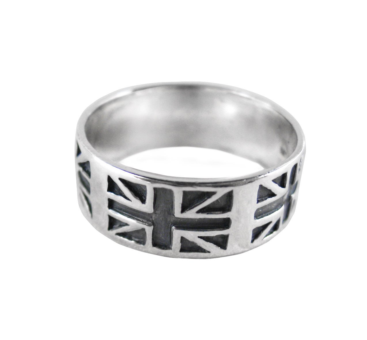 Sterling Silver Union Jack Band Ring, Size 11