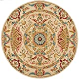 Safavieh Savonnerie Collection SAV202A Handmade Traditional European Sage and Beige Wool Round Area Rug (8' Diameter)