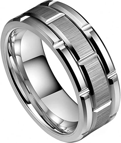 8 MM Men/'s Polished Grooved Tungsten Ring  # 29