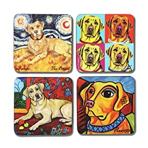 """Pavilion Gift Company 12075 Paw Palettes """"Yellow Lab"""" Coaster, 4 by 4-Inch, Set of 4"""