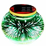 POPPAP Solar Glass Table Lamp, Fairy Projecter Inside Glass Ball 3D Fireworks Effect Outdoor Table Top Decor Lamp