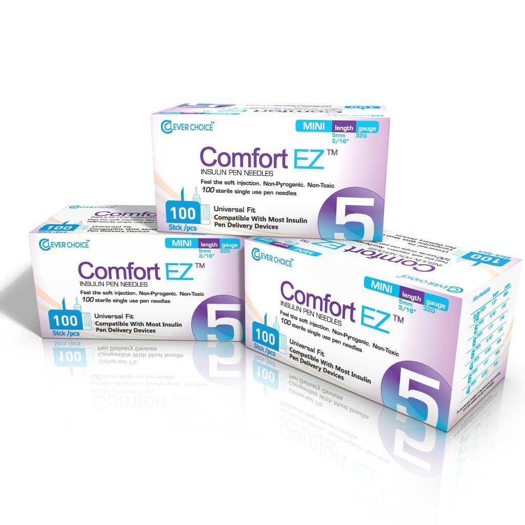 Clever Choice Comfort EZ Pen Needles 32G 5mm (3/16'') 3-pack (300 needles) by Clever Choice