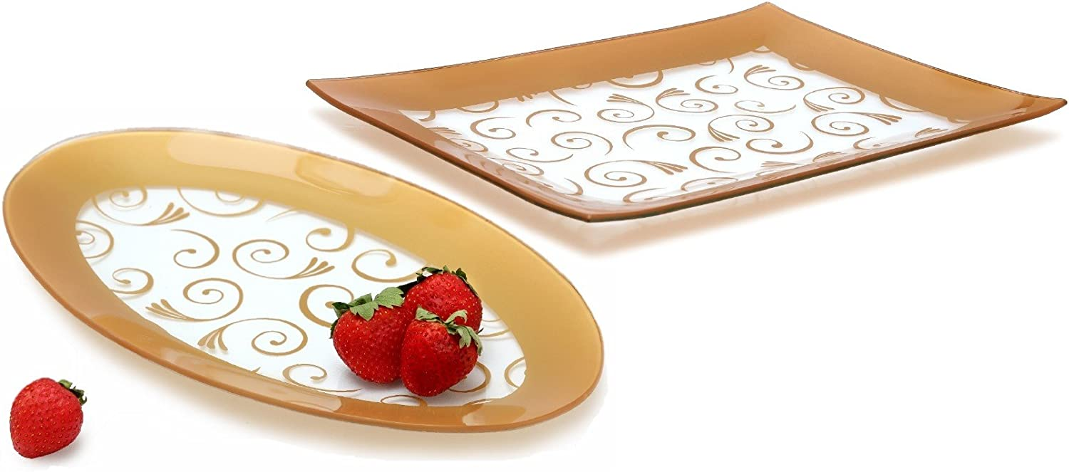 GAC Tempered Glass Oval Platter and Rectangular Serving Tray Set Gold Decorative Serving Platters - Break and Chip Resistant - Microwave Safe - Oven Safe - Dishwasher Safe (Economy Pack)