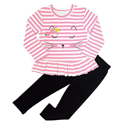 VEKDONE Toddler Baby Girls Adorable Cartoon Cat Striped Tops Dresses Pants Clothing Set: Clothing