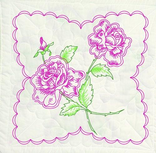 Fairway 95395 Quilt Blocks, Long Stem Rose Design, White, 6 Blocks Per Set