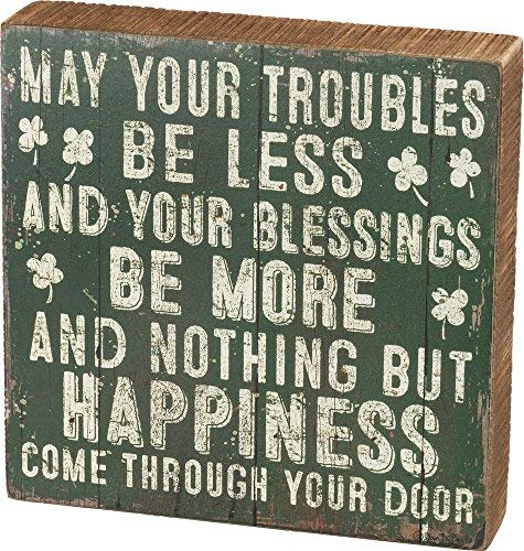Primitives by Kathy Troubles Be Less Your Blessings Be More Wood Box Sign]()