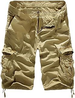 Bermudas Hombre Cargo Verano Moda Casual Color Solido con Bolsillos Shorts Militar Parches Pantalón Corto Pantalones Lannister Fashion