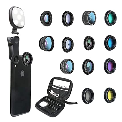Godefa Phone Camera Lens Kit 14 In 1 Lenses With Selfie Ring Light For Iphone Xs Xr 8 7 6s Plus Samsung And Other Andriod Smartphone Universal