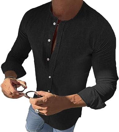 Camisa Henley de Manga Larga para Hombre, Ajustada, Casual, sin Cuello, Color sólido Negro Negro (XXL: Amazon.es: Ropa y accesorios