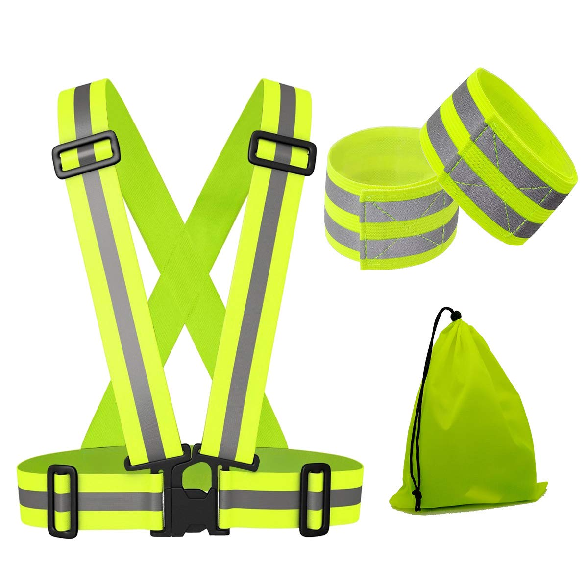 LCYQ Reflektierende Laufbekleidung, Sport und Reiten sehr gut sichtbar Warnweste (1 Reflektierende Weste + 2 Reflektierende Bänder +1 Aufbewahrungstasche)