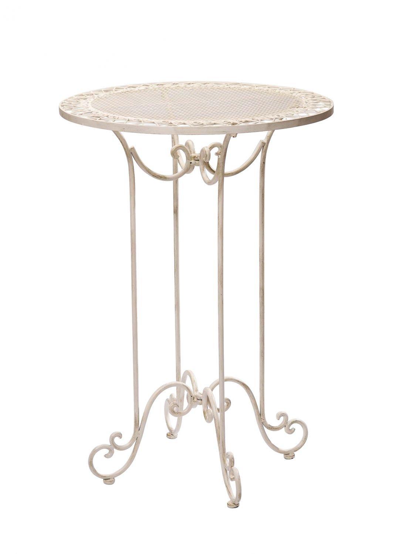 Stehtisch 101cm Eisen Gartentisch Bistrotisch antik antik antik Stil creme weiß iron table 4ae1f8