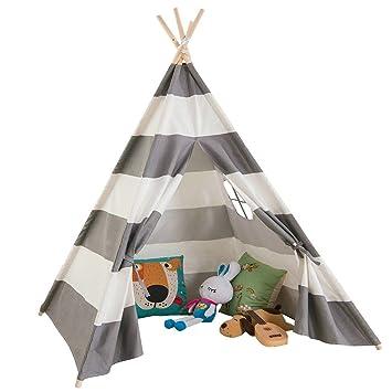 AniiKiss Giant Canvas Kids Teepee Play Tent Grey Stripes  sc 1 st  Amazon.com & Amazon.com: AniiKiss Giant Canvas Kids Teepee Play Tent Grey ...