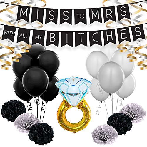 Bachelorette Party Classy Decoration Set with Funny Miss to Mrs Bitches Banner, Gold & Silver Foiled Swirls, Pom Poms, Latex Balloons & Diamond Ring Foil Balloon for Bridal Showers Supply Kits