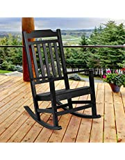 Flash Furniture Winston All-Weather Rocking Chair in Black Faux Wood