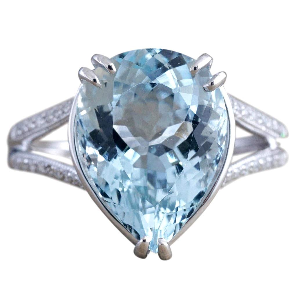 Pstars Luxury Fashion Lady's Diamond Wedding Ring Engagement Aquamarine Dripping Ring