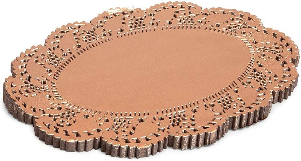 Lace Paper Doilies, Rose Gold Placemats (12 Inches, 100 Pack)