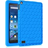 Fintie HONEY COMB Silicone Case for Amazon Fire (Previous 5th Generation ONLY, 2015 7 inch) by Light Weight [Anti Slip] Shock Proof Protective Cover [Kids Friendly] (NOT Fit Fire 7 2017), Blue