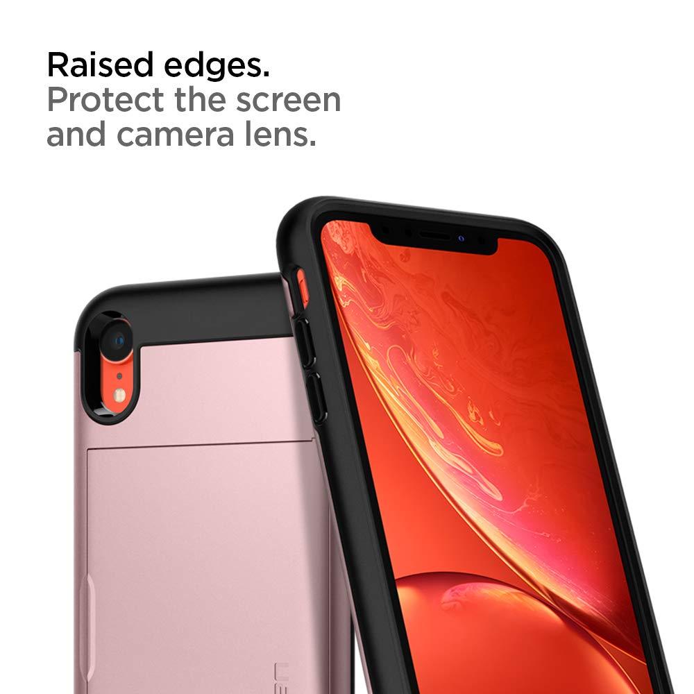 Red 2018 Spigen Slim Armor CS with Slim Dual Layer Wallet Design and Card Slot Holder Designed for Apple iPhone XR Case