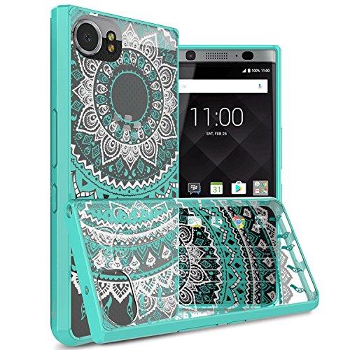 BlackBerry KEYone Case, CoverON [ClearGuard Series] Hard Clear Back Cover with Flexible TPU Bumpers Slim Fit Phone Cover Case for BlackBerry KEYone - Teal Mandala