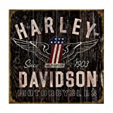 Harley-Davidson 28 x 28 Genuine Winged #1 Distressed Wood Sign W11-HARL-GCGPX12