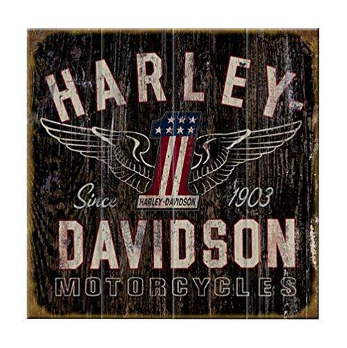 (Harley-Davidson 28 x 28 Genuine Winged #1 Distressed Wood Sign W11-HARL-GCGPX12 )