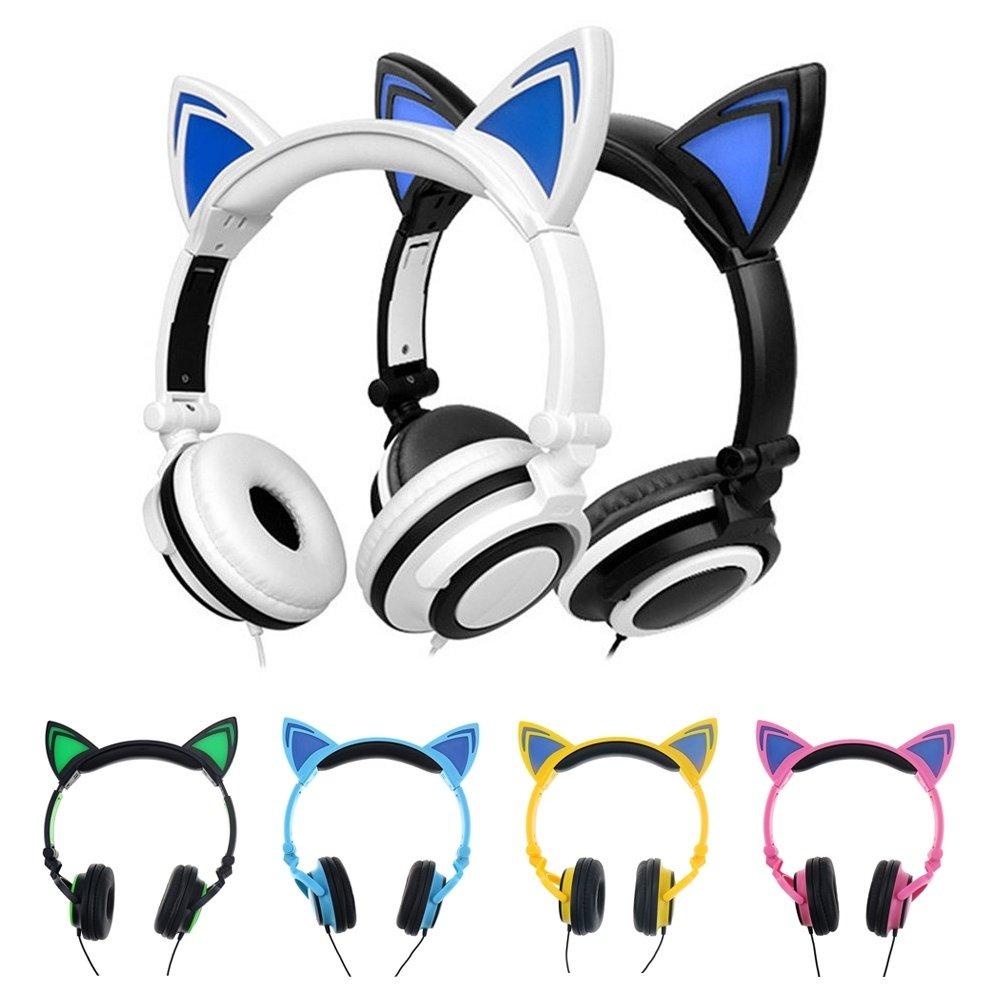Katze Ohren Kopfhörer Mit LED Glowing Lichter: Amazon.de: Elektronik