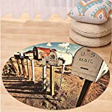 VROSELV Custom carpetUnited States Old Mailboxes in West America Rural Rusty Landscape Countryside for Bedroom Living Room Dorm Brown Blue White Round 72 inches