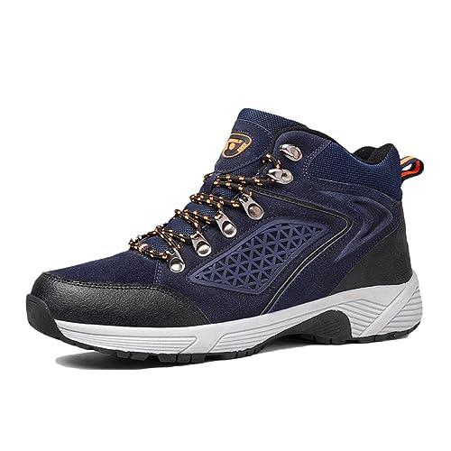 Zapatillas De Senderismo Hombre Impermeables para Caminar Zapatillas Antideslizantes De Trekking High-Top Resistente Al