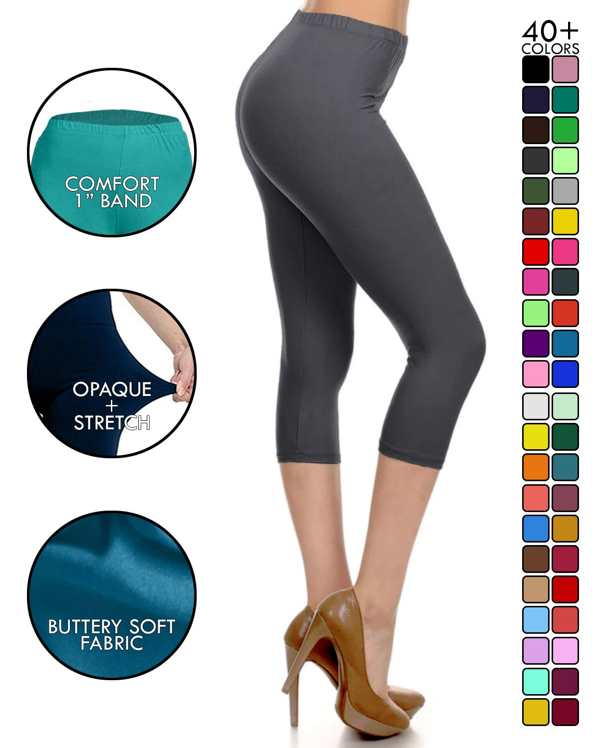 82838e041192c Leggings Depot High Waisted Capri Leggings - Soft & Slim - 37+ Colors  product image
