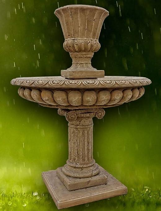 Casa Padrino Fuente de Jardín Barroco Gris Oscuro Ø 114 x H. 153 cm - Magnífica Fuente Redonda con Maceta: Amazon.es: Hogar