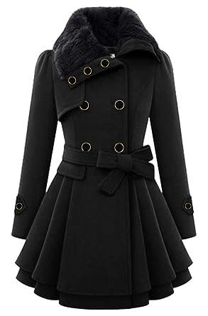 df7922787aff Lemosery Women s Stylish Lapel Faux Fur Collar Wool Blend Long Sleeve  Trench Coat Dress Coat