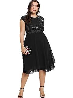 0fec2d196d ESPRLIA Womens Plus Size Sequin Short Cap-Sleeve Holiday Party Homecoming Midi  Dress