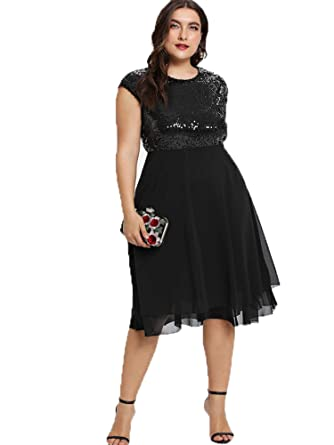b83e5d447c85 ESPRLIA Women's Empire Waist Plus Size Midi Cocktail Dress (Black, ...