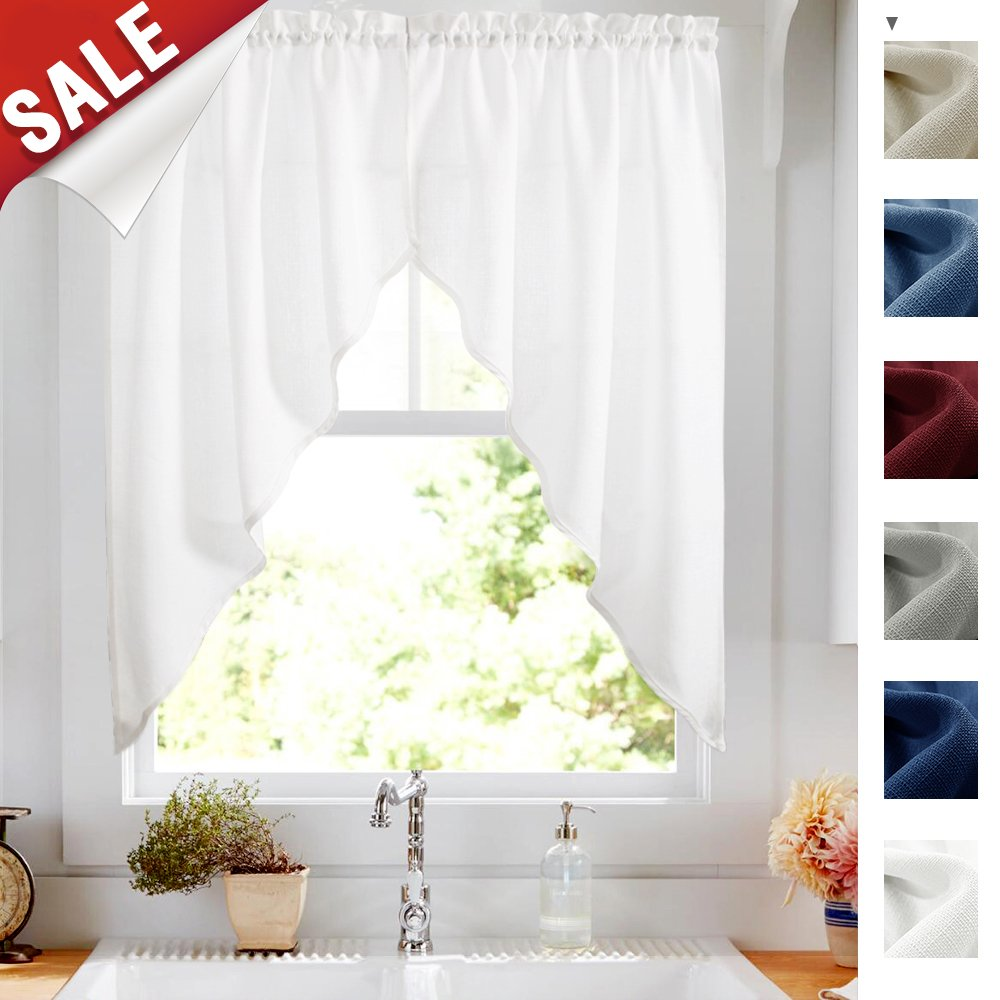 "Kitchen Curtains Valances and Swags for Windows 63 inches Long, Home Decor Semi Sheer Valance Solid Color Rod Pocket Textured Window Swags for Kitchen (Set of Two, 36"" x 63"", White)"