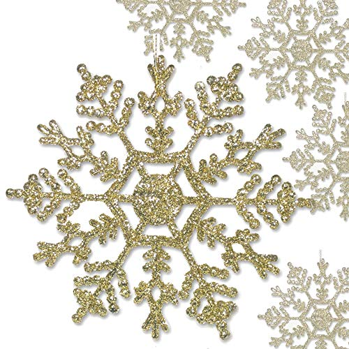 BANBERRY DESIGNS Gold Snowflake Ornaments - 48pcs Medium Size (4-inch) Glitter Snow Flakes - Christmas Tree Decorations - Wedding Crafts Embellishing