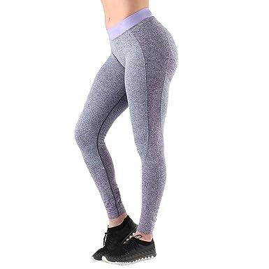 5903b8d00822e HCFKJ Women Sports Yoga Stitching Leggings Workout High Waist Pants Fitness  Elastic (XS, Purple