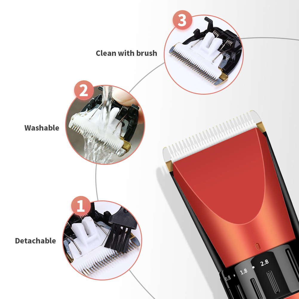 ELEHOT Hair Clipper Trimmer Cordless Cutting Grooming Kit with LCD Display,Two Rechargeable & Replaceable Batteries,Stainless Steel Blades for Men & Women by ELEHOT (Image #9)