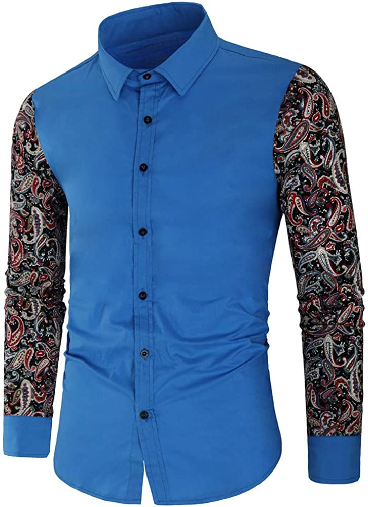 Xmiral - Camisa de Manga Larga para Hombre Azul L: Amazon.es: Ropa y accesorios