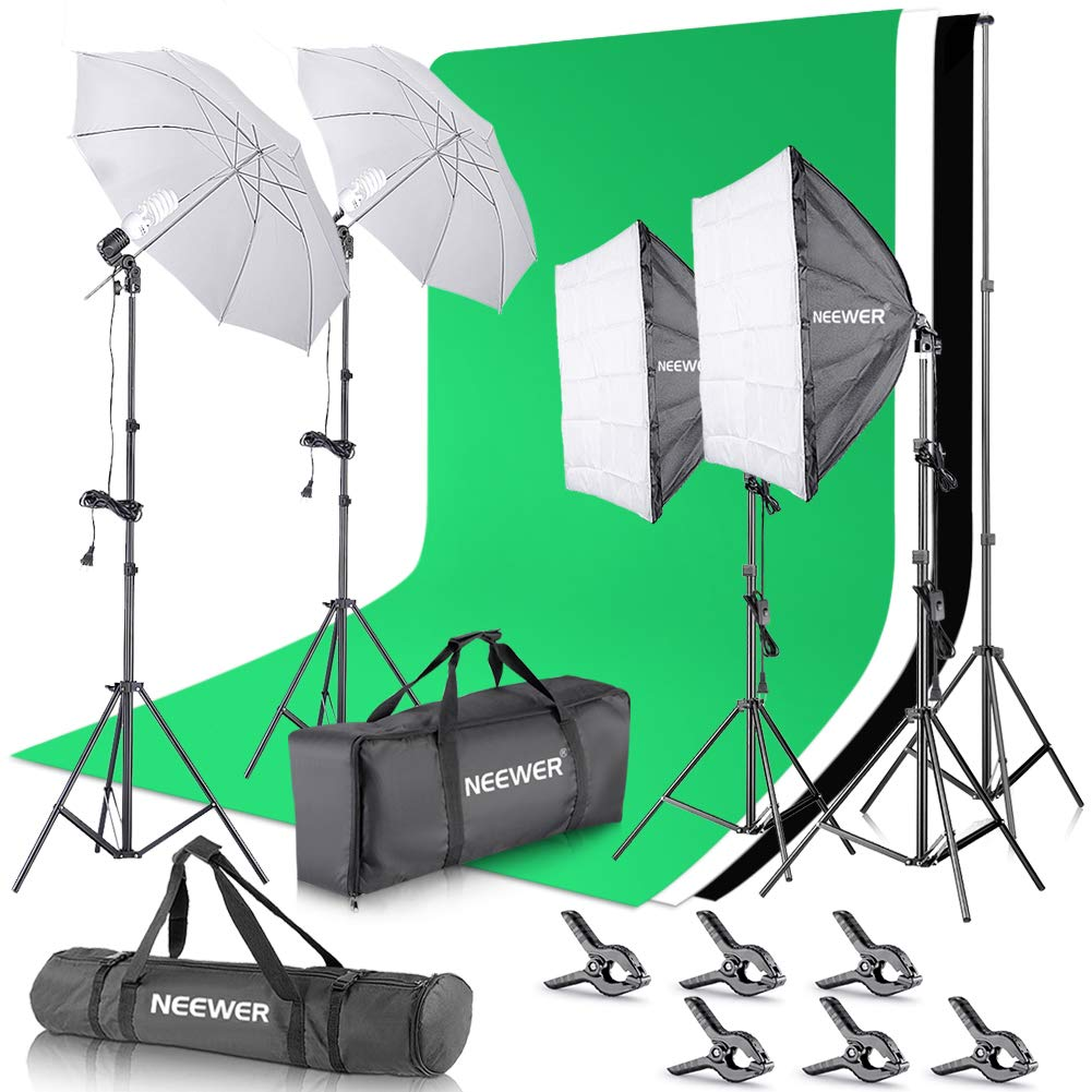 Kshioe 2M x 3M//6.6ft x 9.8ft Background Support System and 2700W 5500K Umbrellas Softbox Continuous Lighting Kit for Photo Studio Product,Portrait and Video Shoot Photography