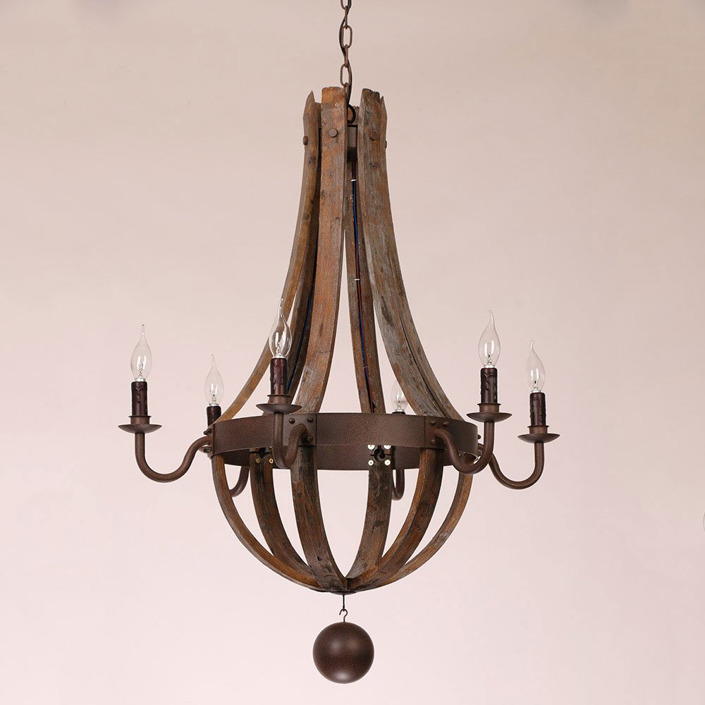 Rustic wine barrel stave reclaimed wood rust metal chandelier with rustic wine barrel stave reclaimed wood rust metal chandelier with candle light 6 lights amazon aloadofball Image collections